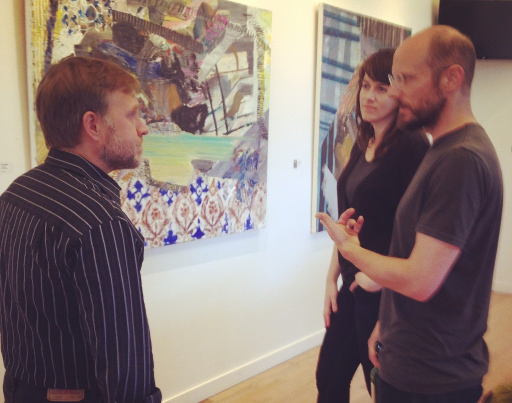 Josh Highter (left) with Root Division Facilties & Installation Manager Blake Gibson, and Studio Artist Julie Sutherland